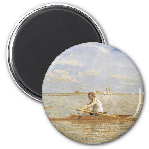 Thomas Eakins - John Beglin in Single Scull 2 Inch Round Magnet
