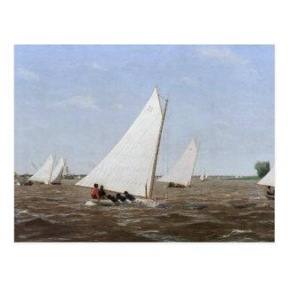 Thomas Eakins - veleros que compiten con en el Tarjeta Postal