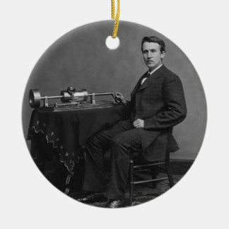 Thomas Edison and His Early Phonograph Ceramic Ornament