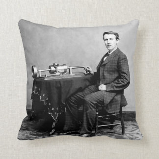 Thomas Edison and Phonograph 1878 Matthew Brady Throw Pillow