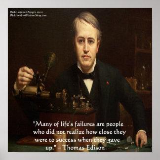 "Thomas Edison ""B4 Success"" Wisdom Quote Poster"