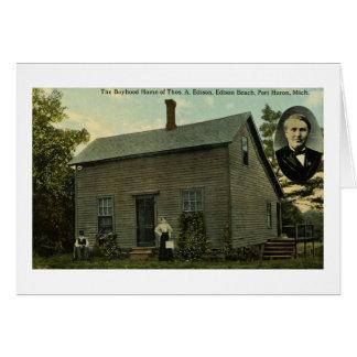 Thomas Edison Boyhood Home - Vintage Postcard Greeting Card