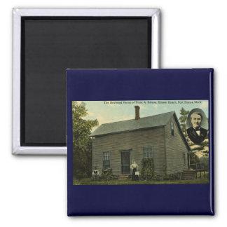 Thomas Edison Boyhood Home - Vintage Postcard 2 Inch Square Magnet