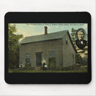 Thomas Edison Boyhood Home - Vintage Postcard Mouse Pad