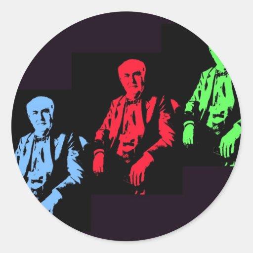 Thomas Edison Collage Round Sticker