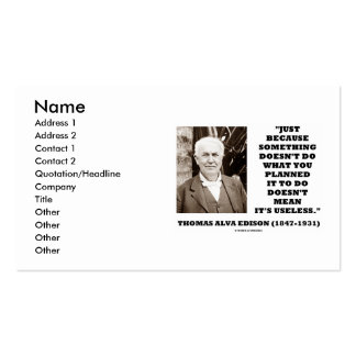 Thomas Edison Doesn't Do What You Planned Quote Business Card Templates