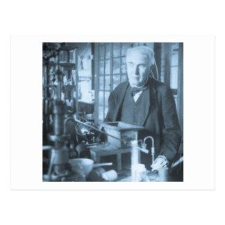 Thomas Edison en su ciánico de Stereoview del labo Postales