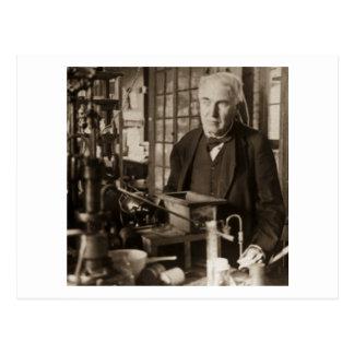 Thomas Edison en su laboratorio Stereoview Tarjetas Postales