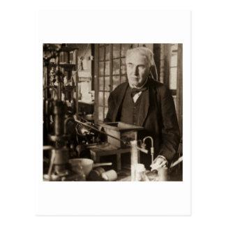 Thomas Edison en su laboratorio Stereoview Tarjeta Postal