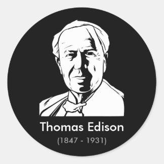 Thomas Edison - genio real Pegatina Redonda