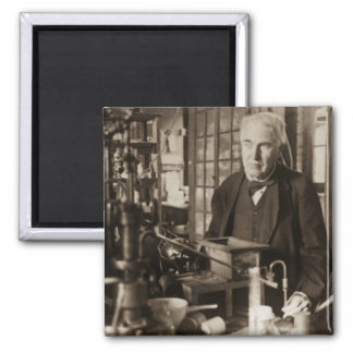 Thomas Edison in His Lab Stereoview 2 Inch Square Magnet