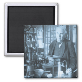 Thomas Edison in His Lab Stereoview Cyan Toned 2 Inch Square Magnet