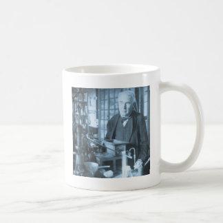 Thomas Edison in His Lab Stereoview Cyan Toned Coffee Mug