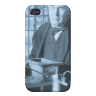 Thomas Edison in His Lab Stereoview Cyan Toned iPhone 4/4S Cases