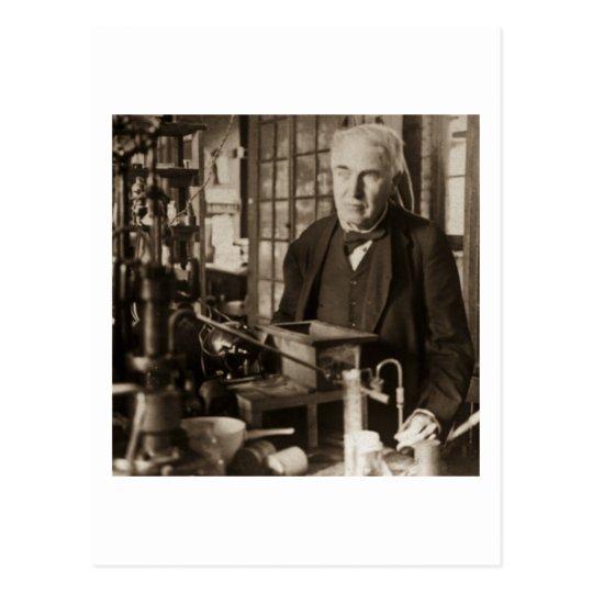 Thomas Edison in His Lab Stereoview Postcard