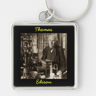 Thomas Edison in His Lab Stereoview Silver-Colored Square Keychain