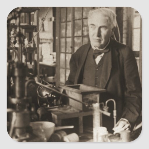 Thomas Edison in His Lab Stereoview Stickers