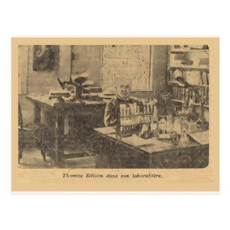 Thomas Edison in his laboratory Postcard