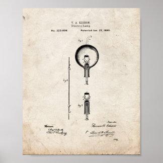 Thomas Edison Light Bulb Patent - Old Look Poster