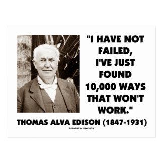 Thomas Edison no fallado 10.000 maneras no trabaja Tarjeta Postal
