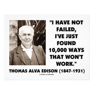 "Thomas Edison Not Failed 10,000 Ways Won't Work 8.5"" X 11"" Flyer"