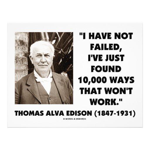 Thomas Edison Not Failed 10,000 Ways Won't Work Full Color Flyer