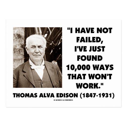 Thomas Edison Not Failed 10,000 Ways Won't Work Postcard