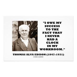 Thomas Edison Owe Success Never Had Clock Workroom Customized Stationery