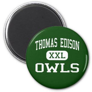 Thomas Edison - Owls - High - Philadelphia 2 Inch Round Magnet