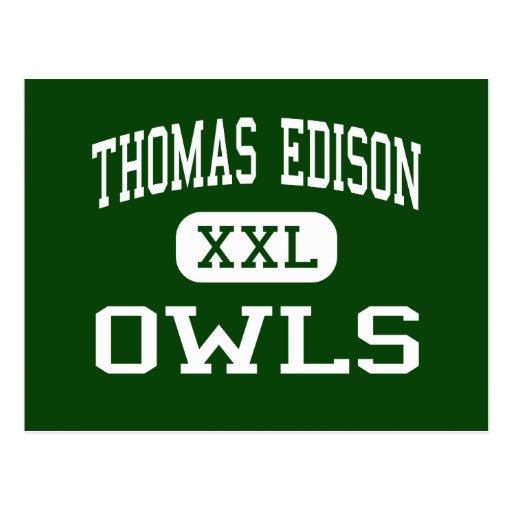 Thomas Edison - Owls - High - Philadelphia Postcard
