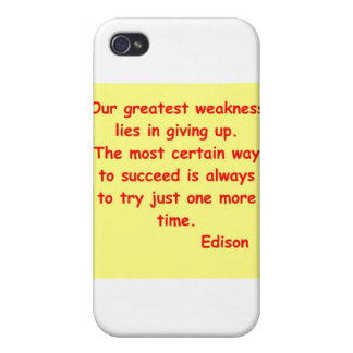Thomas Edison quote iPhone 4 Cases