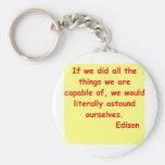 Thomas Edison quote Keychain
