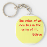 Thomas Edison quote Keychains