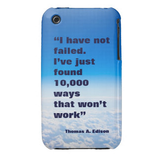 Thomas Edison quote success sky background iPhone 3 Cases