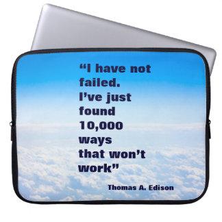 Thomas Edison quote success sky background Laptop Sleeve