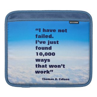 Thomas Edison quote success sky background Sleeve For iPads