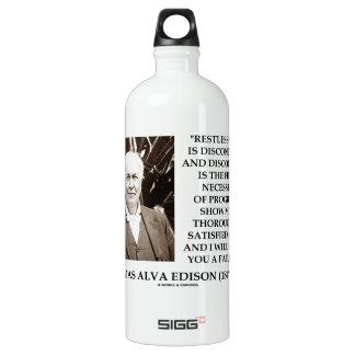 Thomas Edison Restlessness Discontent Progress Aluminum Water Bottle