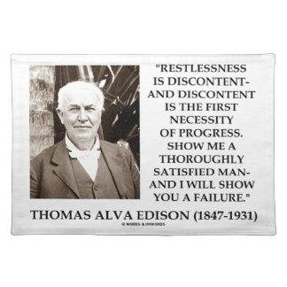 Thomas Edison Restlessness Discontent Progress Cloth Placemat