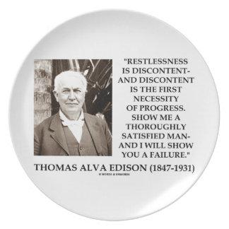 Thomas Edison Restlessness Discontent Progress Dinner Plate