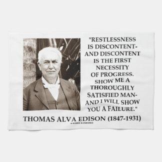 Thomas Edison Restlessness Discontent Progress Hand Towels