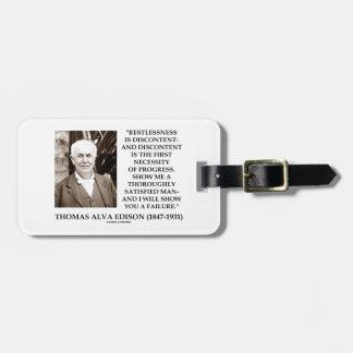 Thomas Edison Restlessness Discontent Progress Luggage Tag
