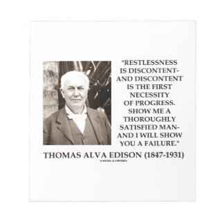 Thomas Edison Restlessness Discontent Progress Note Pad