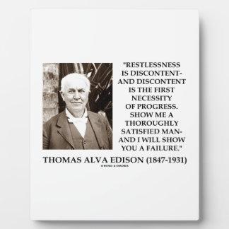 Thomas Edison Restlessness Discontent Progress Plaque