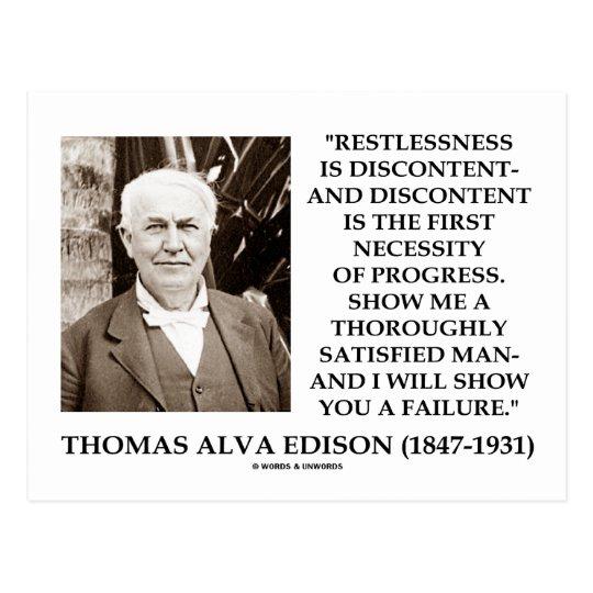 Thomas Edison Restlessness Discontent Progress Postcard