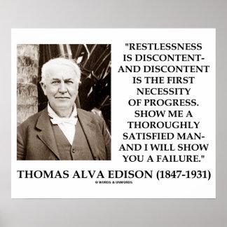 Thomas Edison Restlessness Discontent Progress Poster