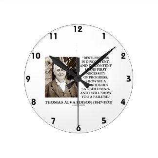 Thomas Edison Restlessness Discontent Progress Round Clock