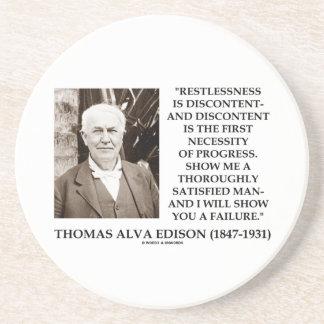 Thomas Edison Restlessness Discontent Progress Sandstone Coaster