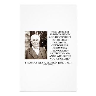 Thomas Edison Restlessness Discontent Progress Stationery