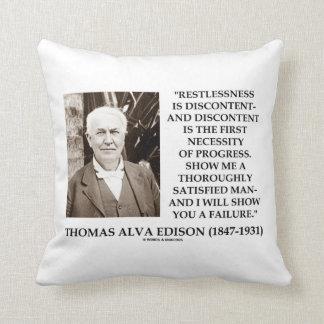 Thomas Edison Restlessness Discontent Progress Throw Pillow