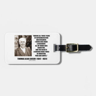 Thomas Edison Results Invention Pure Simple Quote Bag Tag